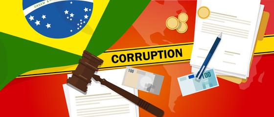 Brazil corruption money bribery financial law contract police line for a case scandal government official