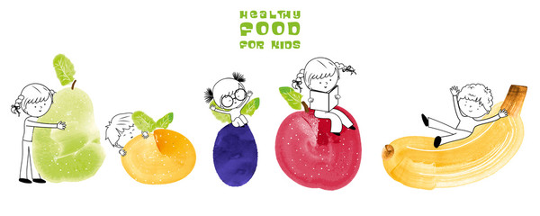 Healthy food for kids - Fun and happy children playing with colorful fruits created with watercolor brushes for web banner illustration