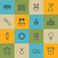 Set Of 16 Plant Icons. Includes Bush Pot, Wood Pot, Barrier And Other Symbols. Beautiful Design Elements.