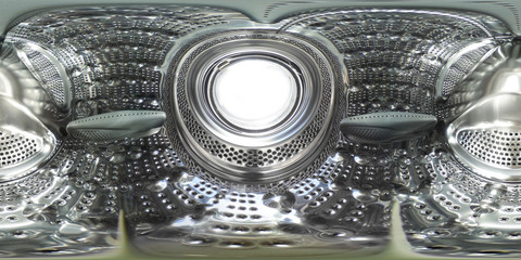 360 degrees spherical panorama view inside a washing machine