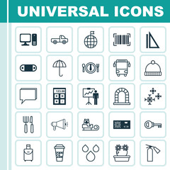 Set Of 25 Universal Editable Icons. Can Be Used For Web, Mobile And App Design. Includes Elements Such As Sleigh, Measurement, Gingham And More.