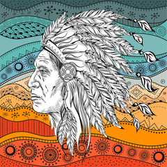 Man in the Native American Indian chief on  ethno pattern, tribal background. Indian feather headdress of eagle.  Hand draw vector illustration