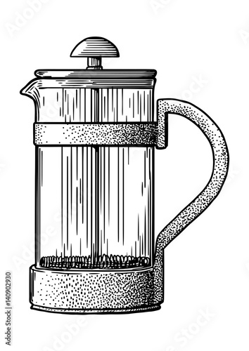 Coffee Maker Drawing ~ Quot french press pot coffee maker illustration drawing
