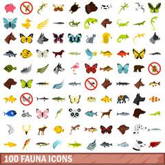 100 fauna icons set, flat style