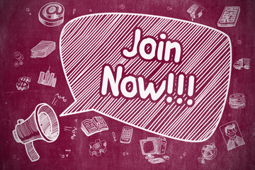 Join Now - Hand Drawn Illustration on Red Chalkboard.