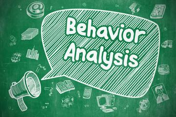 Behavior Analysis - Doodle Illustration on Green Chalkboard.