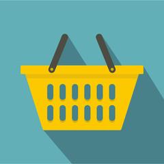 Yellow plastic shopping basket icon, flat style