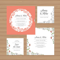 Wedding invitation or greeting card with flower wreath. Cut laser square envelope template. Wedding invitation envelope for laser cutting. Vector illustration.