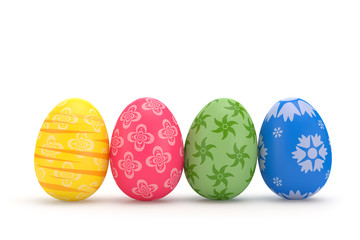 3D rendering illustration. Set of Easter eggs on a white background.