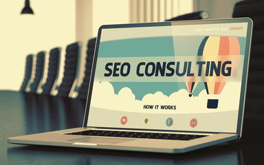Laptop Screen with SEO Consulting Concept. 3d.