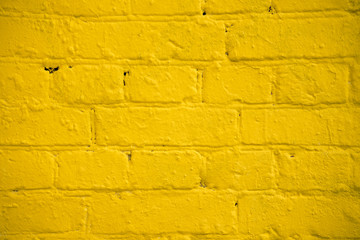 Bright Yellow brick wall, large background, texture