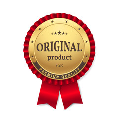 "Vector gold rosette with title ""Original Product"" and ""Premium Quality"". Golden badge with red ribbon. Isolated from the background."