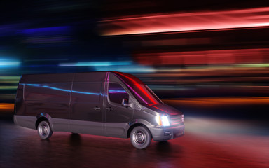 Black Van on City Street with Neon Lights Motion Blurred 3d Illustration