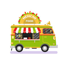 Flat design vector illustration of cartoon traditional Mexican food van. Mobile retro vintage shop truck icon with signboard with big tasty tacos. Car side view, isolated on white background.