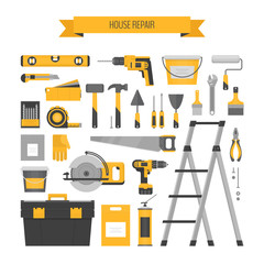 Home repair objects set. Сonstruction tools. Hand tools for home renovation and construction. Flat style, vector illustration.