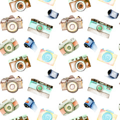 Seamless pattern with watercolor retro cameras and films, hand drawn isolated on a white background