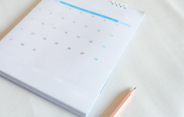 Blurred calendar page on white tone