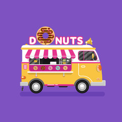 Flat design vector illustration of cartoon donuts van. Mobile retro vintage shop truck icon with signboard with big donut with tasty glaze. Car side view, isolated