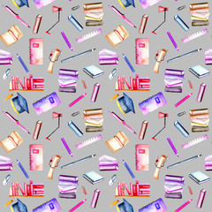 Seamless pattern with watercolor stationery objects, hand painted isolated on a grey background