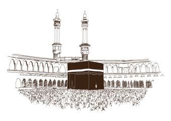 Holy Kaaba in Mecca Saudi Arabia with muslim people, hand drawn, vector sketch