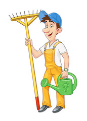 Gardener with rake and watering can. Working occupation. Cartoon