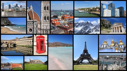 Europe tourist attractions - photo collage