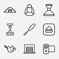 Set of 9 symbol outline icons