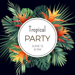 Customizable vector floral design template for summer party. Tropical flyer with green exotic plants and flowers.