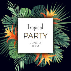 Customizable vector floral design template for summer party. Tropical flyer with green exotic palm leaves and orange flowers.