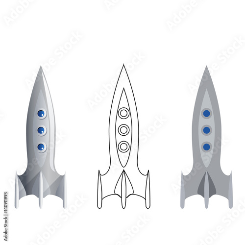 rocket symbol 3d line art flat icons set isolated realistic template vector illustration stock. Black Bedroom Furniture Sets. Home Design Ideas