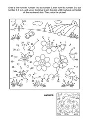 Easter themed connect the dots picture puzzle and coloring page with three painted eggs. Answer included.