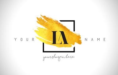 LA Golden Letter Logo Design with Creative Gold Brush Stroke