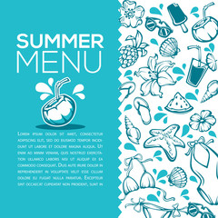 summer menu, vector design template with images of tropical objects, leaves, flowers, clothes, drinks