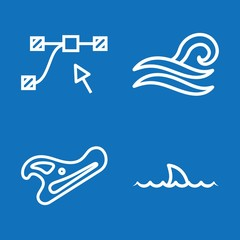 Set of 4 curve outline icons