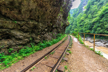 Beautiful scenic landscape of vanishing narrow-gauge railway tracks passing through Guam river canyon in Caucasus mountains at summer, Russia