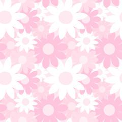 ガーリーでかわいい 大きな花柄のシームレスパターン 総柄 ピンク系 ベクター