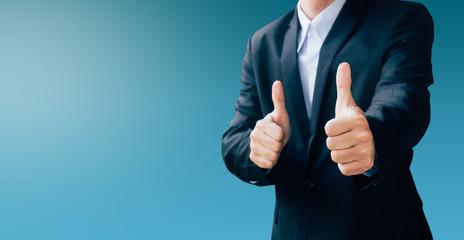 business man hand sign about good job