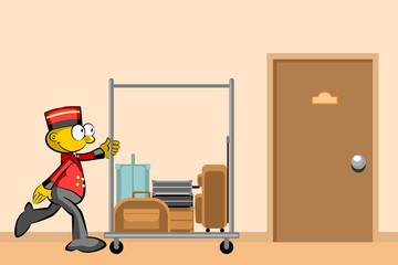 Bellboy and suitcases In the hallway of the hotel