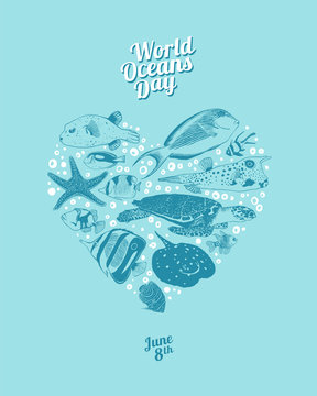 World Oceans Day. June 8th. Heart of sea animals