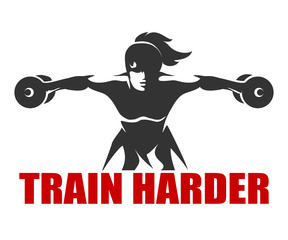 Fitness Emblem with slogan Train Harder
