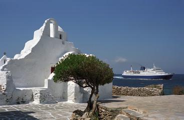 Greek Orthodox Paraportiani Church was founded in 1425 year on Mykonos Island, Greece.