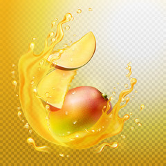 A splash of juice with mango and mango slices. Orange juice frame. Vector illustration. A splash is a transparent object.