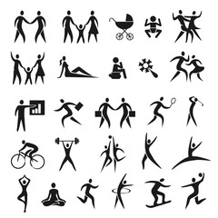 Icons people family business sport.