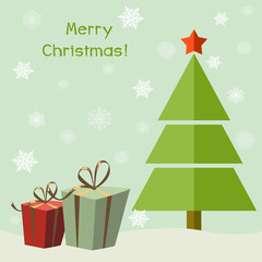 Christmas tree with gifts. Cartoon vector illustration. Happy New Year. Greeting card. Green background with snowflakes.
