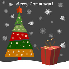 Christmas tree with gifts. Vector illustration. Happy New Year. Greeting card.