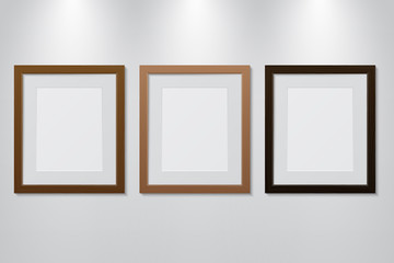 Empty wooden picture frames set on the wall with light effect, vector illustration