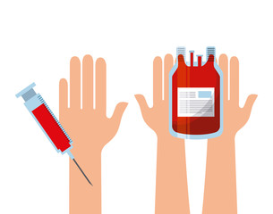 hands with blood bag and injection over white background. colorful design. vector illustration