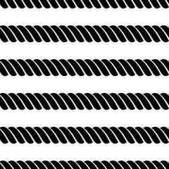 Vector seamless grey pattern with rope Symmetrical background Graphic illustration. Template for wrapping, backgrounds, fabric, prints, decor, surface. Black and white