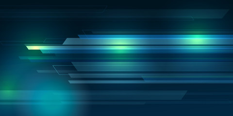 Blue color Background abstract with lighting lines digital concept