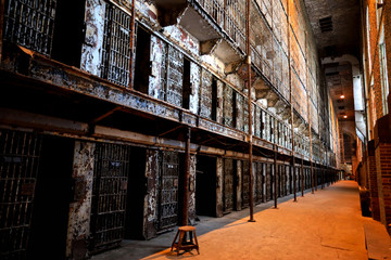 The inside of the Ohio State Reformatory shows six floors of prisoner cells.  This is a popular location in Ohio for tours.